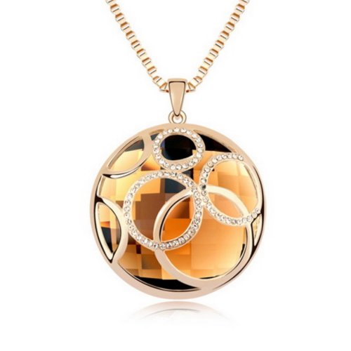 """Alvdis Fashion Jewelry Circles Stone Style Alloy Crystal Long Sweater Chain Pendant Necklace, 30"""", Coffee"""