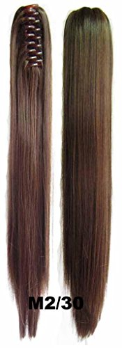 Beauty Wig World 20Inch 50Cm 100G Long Straight Double Usage Synthetic Hair Clip Ponytails Pony Tail Hair Extensions - #2/30 Darkest Brown/Medium Auburn