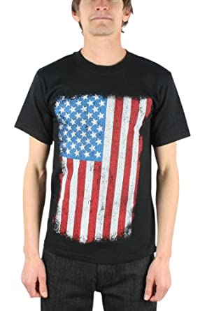 Price Busters - Us Flag Distressed Adult T-Shirt, X-Large, Black