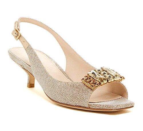 Pelle Moda Women's Fresh 5 Kitten Heel Pump, Platinum Gold (7.5 M US) (Platinum Heels For Women compare prices)