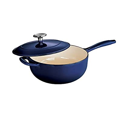 Tramontina Gourmet Enameled Cast Iron 3 qt. Covered Saucier - Gradated Red