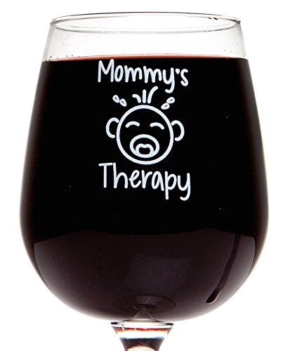 Mommy's Therapy Funny Wine Glass 13 Oz Unique Mother's Day Gift Funny Birthday Present for Mom Friend Sister