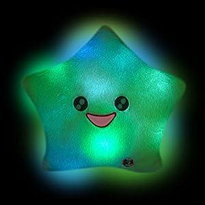 Smile Star Design Color Changing LED Light Toss Thrown Pillow White