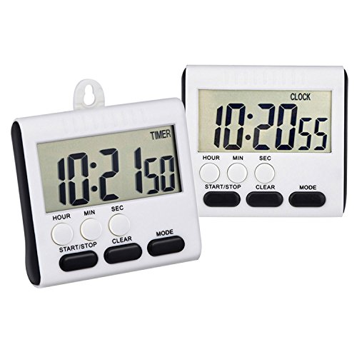Mudder Magnetic Kitchen Timer for 24 Hours, Digital Clock Timer with Stand, Big Screen, 2 Pack (Black) (Timer Stand compare prices)
