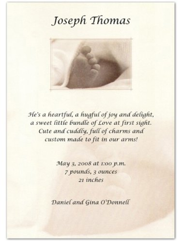 Five Little Toes Birth Announcements - Set Of 20 front-1037801