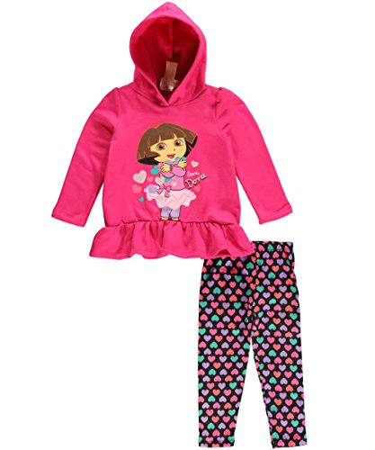 "Dora The Explorer Little Girls' ""Love, Dora"" 2-Piece Outfit - Pink, 5 front-1016978"