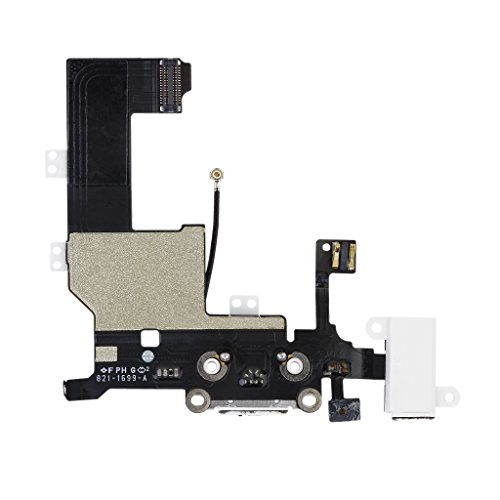 Replacement Charging Dock Headphone Audio Jack Mic Connector Antenna Flex For Iphone 5 White