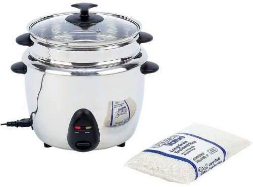 """Precise Heat 1.9Qt (1.8L) Rice Cooker *** Product Description: Features 120V, 700 Watts, Stainless Steel Liner, Stainless Steel Steamer Tray, Phenolic Handles, See-Thru Glass Lid, And Detachable Cord. Measures 11-1/4"""" X 12"""" X 11-1/4"""". Ul Certifie *** front-636001"""
