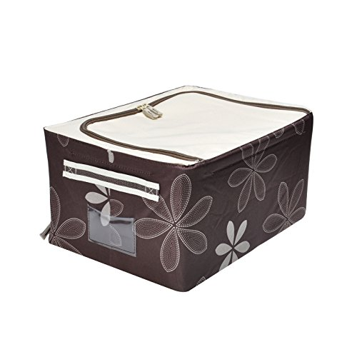 Gbgs Durable Oxford Fabric Foldable Storage Box With See-Through Window, Metal Shelf Inside, Storage Bin With Handles (Coffee, 44L)