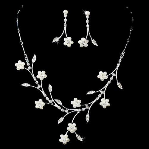 Bridal Wedding Jewelry Set Floral Vine Pearl
