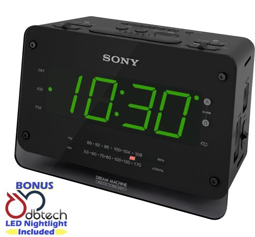 Sony Dream Machine Dual Alarm Clock with AM / FM Stereo Radio Tuner, Digital Display, Extendable Snooze, Sleep Timer, Independent Dual Alarm Times, Large LED Display with Brightness Control, Compact Space Saving Design & Built-In Battery Back-Up *Bonus* DB-Tech LED Nightlight Included