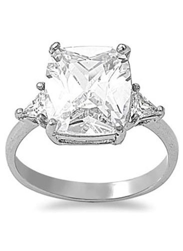 Stainless Steel Classy 3 Stone Engagement Ring with Centered Princess Cut Simulated Diamond & Triangle Simulated Diamonds on Sides - Crazy2Shop