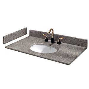 Pegasus PE49603 49-Inch Napoli Granite Vanity Top with White Bowl and 8-Inch Spread
