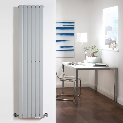Milano Capri - Silver Designer Radiator - Flat Panels - Luxury Central Heating Vertical 'Plane' Columns - 1600mm x 354mm