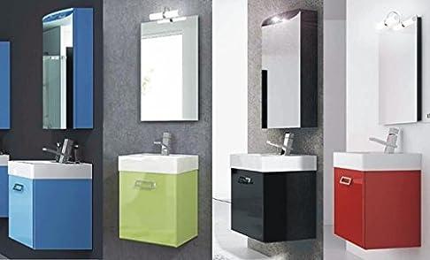 Mobile Arredo Bagno Quad da cm 44 sospeso specchio moderno in 20 colori (anche bianco) Mobili
