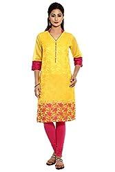 Aaboli Yellow Chanderi Straight Long Kurta