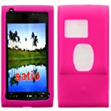 Wayzon Hot Pink Sony Ericsson Satio Case Cover Skin Pouch Shell Plain Silica Rubber