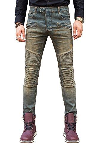 COUSIN CANAL Uomo magro Patchwork pista Distressed Denim Slim Biker Jeans strappati 037 32