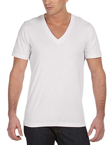 Canvas   Unisex Deep V Neck T Shirt (Large, White). BY Americana Sportswear  Americana Sportswear