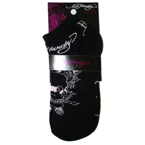 Ed Hardy Skull With Roses Basic Sport Socks - Blac…