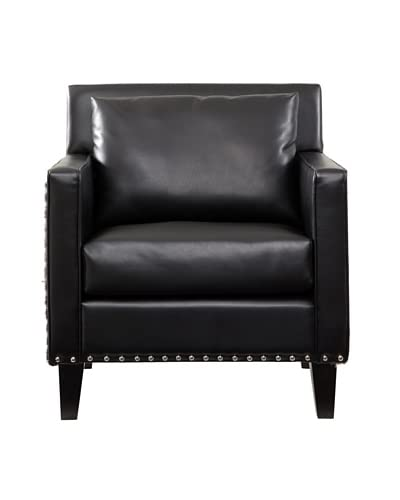Armen Living Dallas Chair with Leather & Cowhide Side Panels, Black