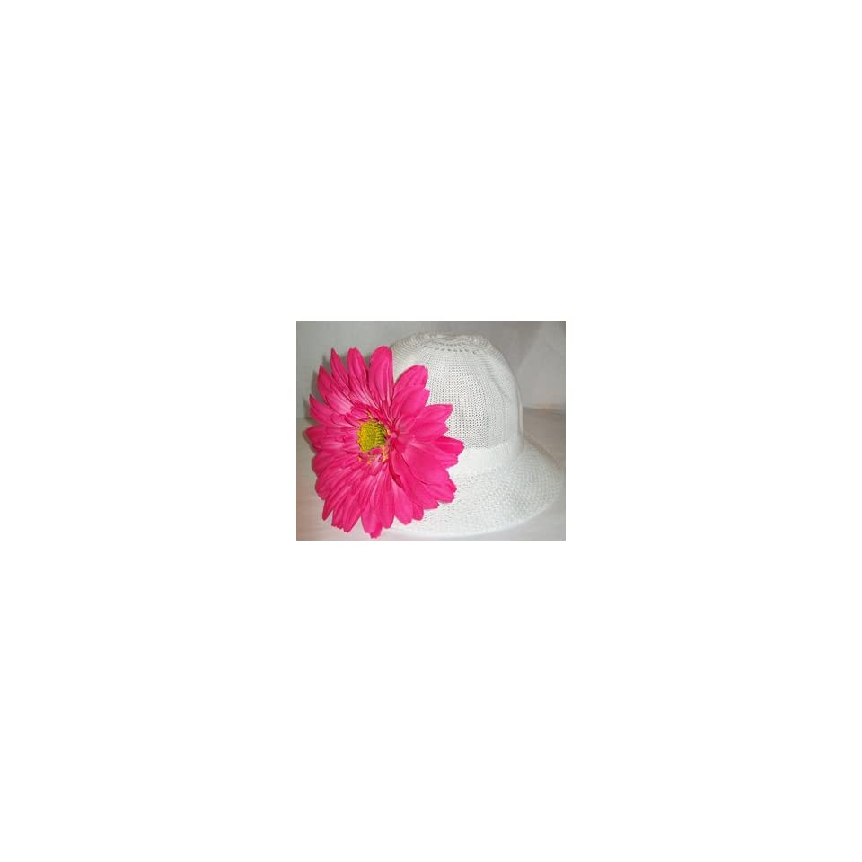 Tanday Crochet Elastic Baby Girls & Toddler Flower Beanie & Hat Pink Daisy Gerbera