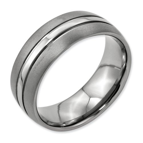 Titanium Grooved 8mm Brushed And Polished Band, Size 13.5