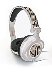 Maxell 190228 Amplified B/W Python Headphones - White Band