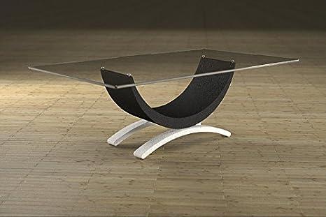 Couchtisch aus Marmor und Glas mit grundlegenden Sitz Modell - Gordon Art.615/B- Cm 110 x 65 - Höhe: cm 37 - Finish: schwarz mit weißen Beinen matt