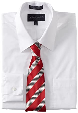 Giorgio Brutini Men's Dress Shirt and Tie Box Gift Set, White, 32x33/16-16.5