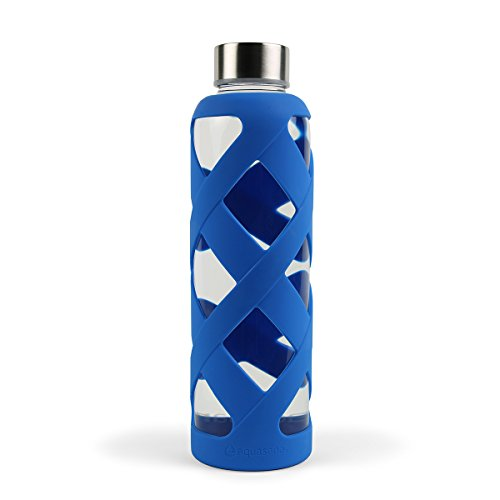 Read About Aquasana AQ-WB-BLUE 550 ML Premium Borosilicate Glass Bottle with Silicone Sleeve, Blue