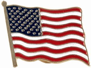 USA Flag Lapel Pin Standard - Flag A-Series 2 with Shorter Pole