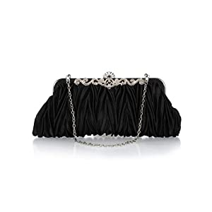 Bundle Monster Womens Vintage Satin Cocktail Party Handbag w/Shoulder Chain-BLACK