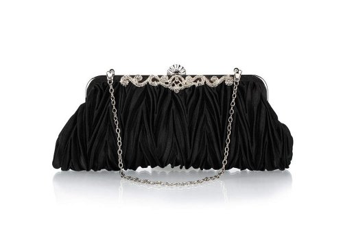 Bundle Monster Womens Fashion Classy Elegant Envelope Evening Purse Cinched Vintage Satin Clutch Hand Bag Various Colors