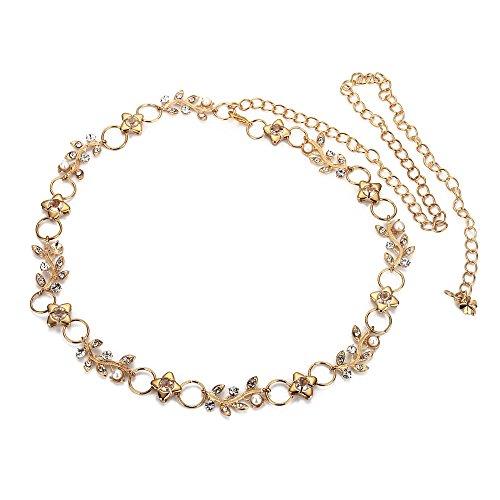 Lelife Women Clear Rhinestone Leaf Braided Skinny Chain Belt Gold Waistband