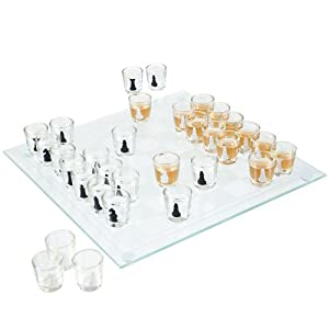 Shot Glass Drinking Game Chess Set - Includes Bonus Deck of Cards!