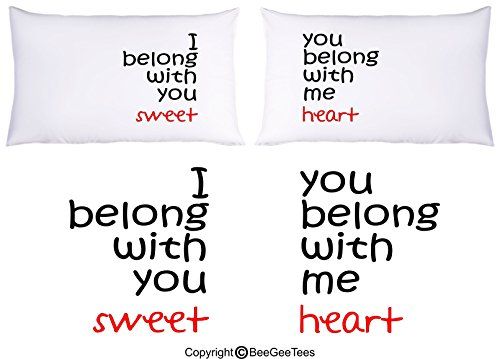 I Belong With You You Belong With Me Sweetheart Couple Pillowcases by BeeGeeTees®