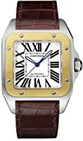 Cartier Men's W20072X7 Santos 100 XL Automatic Yellow Gold Stainless Steel and Leather Watch by Cartier