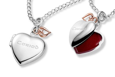Clogau Gold Silver  &  9ct Rose Gold Cariad Heart Locket 51cm (46cm + 5cm extender)