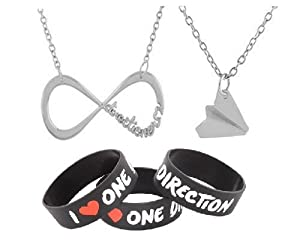 One Direction Stainless Steel Silver Infinity and Airplane Pendants with a 20 Inch Necklace and One Rubber Wristband