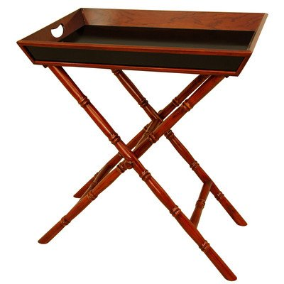 Oriental Furniture Unique, Elegant Gift For Her, 27-Inch Bamboo Design Rosewood Tea Tray And Trestle Stand