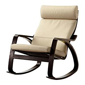 ikea poang rocking chair black brown with robust off white leather cushion. Black Bedroom Furniture Sets. Home Design Ideas