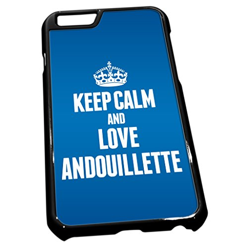 Noir coque pour iPhone 6tissu bleu Keep Calm and Love Andouillette