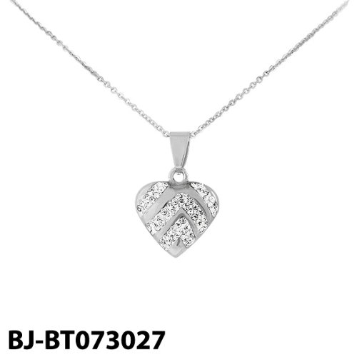 Stainless Steel Silver Tone Heart Pendant with Cubic Zirconia & Chain