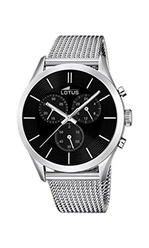 Lotus-Orologio da uomo al quarzo con Display con cronografo e cinturino in acciaio INOX color argento/18117 2