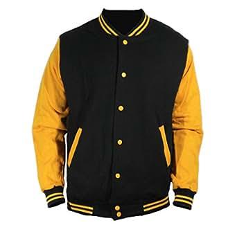 U World Men's Cotton Basic Baseball Varsity Jacket Mustard