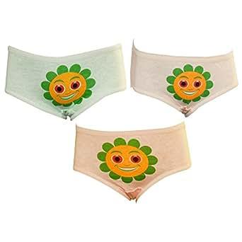 Lilsugar Girls' Panty (Pack Of 3) (GPAN03_Sea Green Baby Pink Peach_3-4 Years)