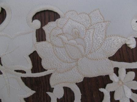 "72"" Table Runner Or Dresser Scarf With A Vintage Cream Rose And Cream Material front-591907"