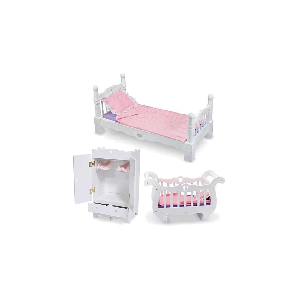 Baby Doll Deluxe Furniture Set Includes Bed Armoire And Crib Toys