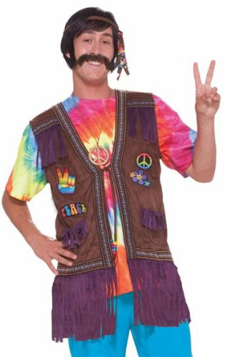 Male Peace Hippie Costume Vest - Adult Std.
